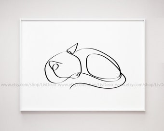 cat print wall art One line drawing pet portrait Sleeping Cat Printable wall art cat lover gift black and white minimalist art