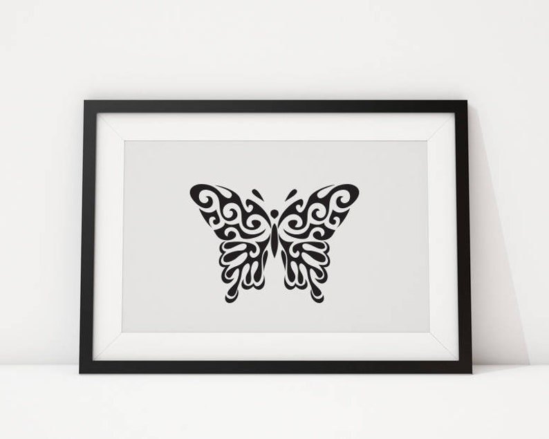 e7d502f2c Abstract Butterfly wall art Black Butterfly Print | Etsy