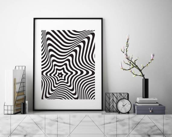 A5 A4 A3 Wall Decor Abstract Geometric 3D Optical Illusion Art Print Poster