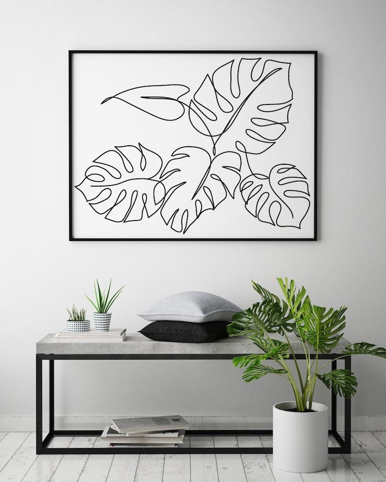 Monstera plant printable line art Tropic leaves print image 0