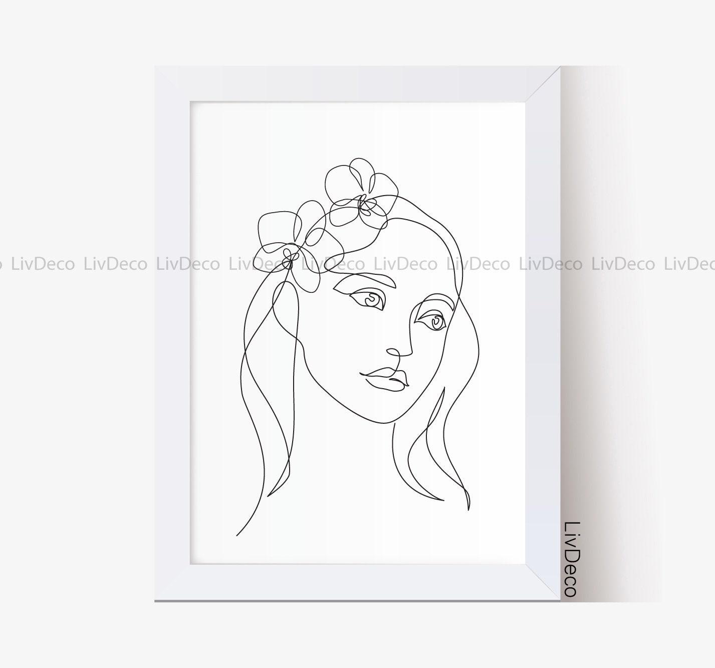 Woman face line art, Printable wall art, Minimalist female portrait, One  line drawing, Abstract minimal wall decor, Beauty girl print