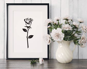 Black Rose Art. Wall decor print. Digital Download. Modern style.