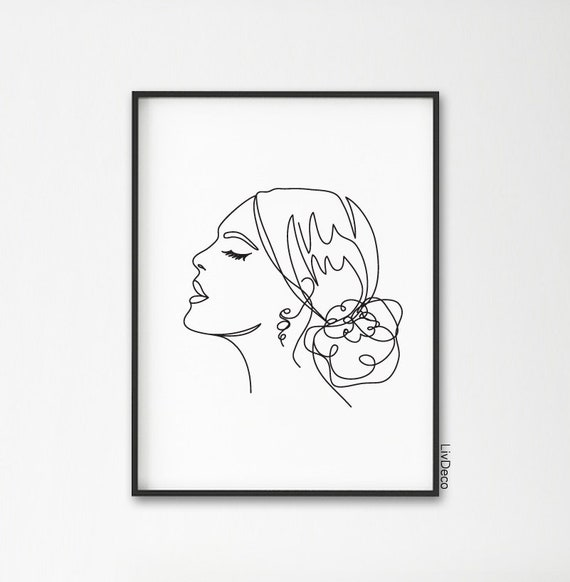 Woman One Line Drawing Face Portrait Abstract Simple Line Drawing Minimalist Art Line Art Woman Fashion Illustration Print Printable