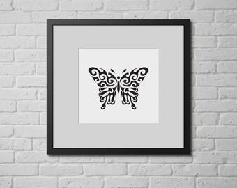 Butterfly poster, Black Butterfly Print, Nursery Wall print Pink decor, Butterfly wall decor, Digital printable wall art print.