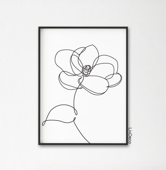 Magnolia Flower Minimalist Print One Line Drawing Abstract Etsy