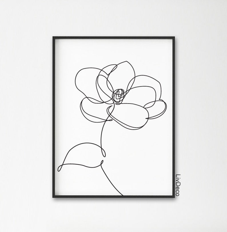 Magnolia Flower Minimalist Print One Line Drawing Abstract Botanic Wall Art Decor Single Line Black And White Print Continuous Line