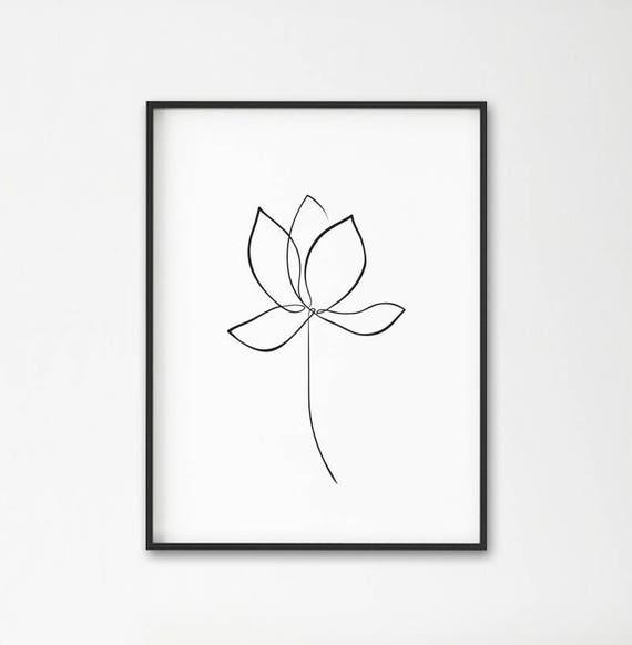 Line Art Lotus Flower Line Drawing