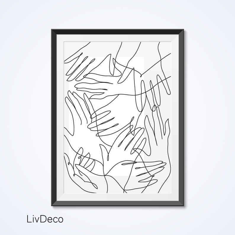Abstract Hands Line Drawing Wall Art Print Minimalist Etsy