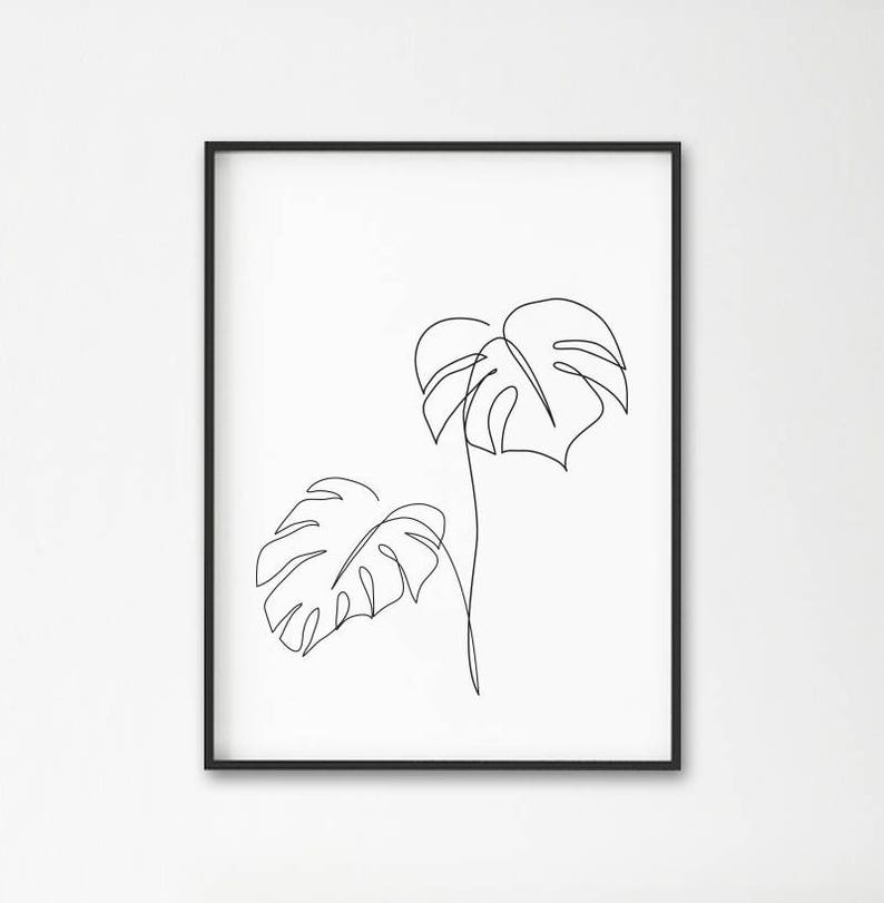 Monstera line art Tropic leaves print Abstract botanic image 0