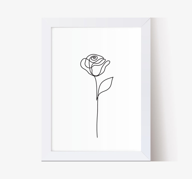 Abstract Rose flower wall art Beauty Rose one line drawing image 0