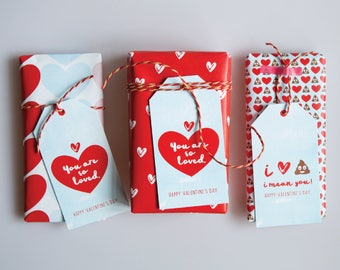 Valentines day wrapping paper valentines gift wrap with valentines gift tags