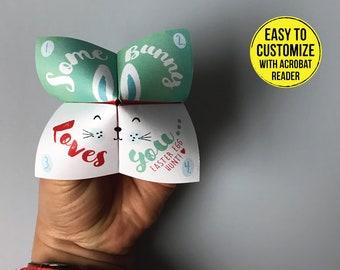 EASTER BUNNY Fortune Teller origami Easter cookie catcher SOME Bunny Loves You Easter fortune teller editable  printable