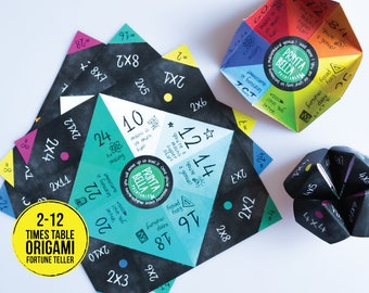 Origami TIMES TABLE teller 12 times tables paper fortune teller origami paper times table learning tables for maths multiplication