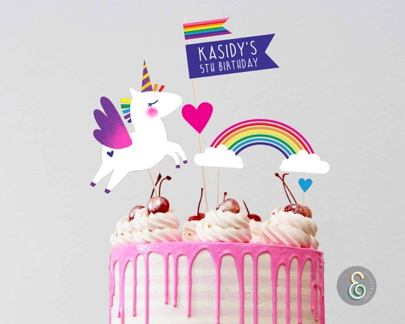 Unicorn Cake Topper Printable Cake Toppers Editable Cake Topper By Collette Co Ltd Catch My Party