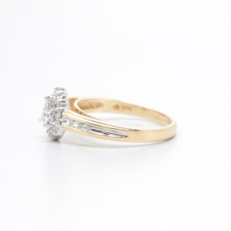 Pear Diamond Halo Gold Engagement Promise Anniversary Ring