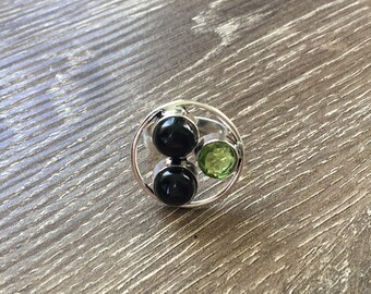 c294dca6c Items similar to Green Swarovski Crystal Ring Silver Peridot Ring ...