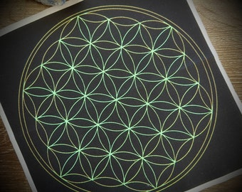 "Small Flower of Life Crystal Grid Cloth (8x8"")"