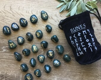 Hand Scribed Bloodstone Viking Runes Divination Set