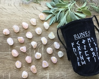 Hand Scribed Rose Quartz Viking Runes Divination Set