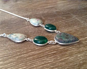 Ruby in Fuchsite and Green Onyx Silver Necklace