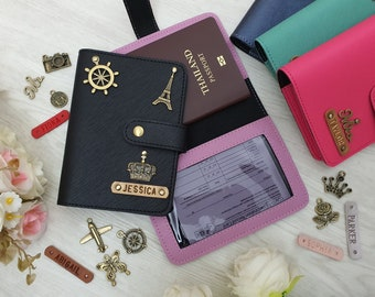 Personalized Leather Vaccination Passport Holder, Personalized Leather Vaccination Passport Cover, Passport Vaccination Cardholder