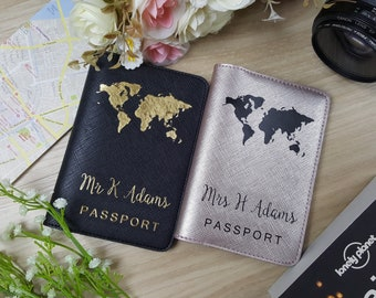 Globe Earth Map Passport covers, Personalized Passport Cover,Personalized Passport Holder,Personalized gifts,Bridesmaid gift, Passport case