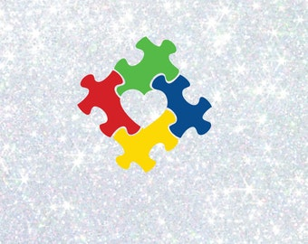 Autism Awareness heart puzzle piece  sticker file scrapbooking, decals, projects, DIY, clipart word art clip art decorations