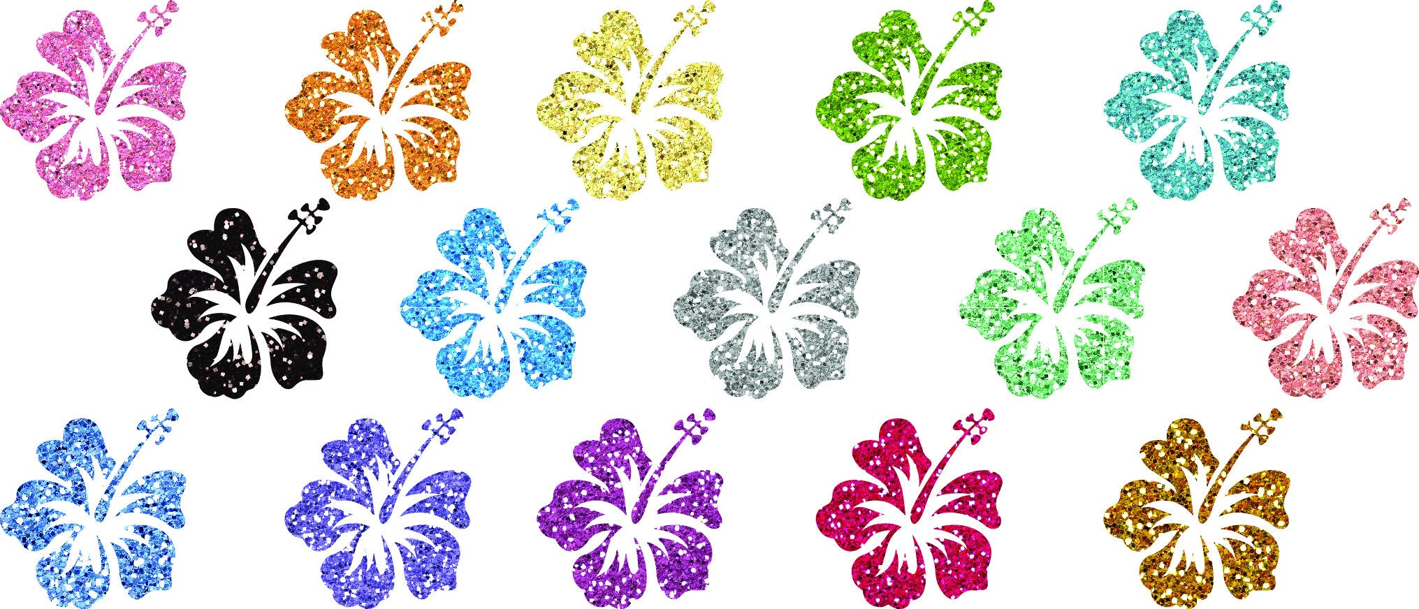 15 Glitter Shimmer Sparkle Glimmer Hibiscus Flower Clip Art Etsy