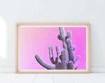 Cactus Printable Print, Cactus Botanical Art, Abstract Botanical Art, Minimalist Cactus Print, Bright Pink Art, Abstract Botanical Print