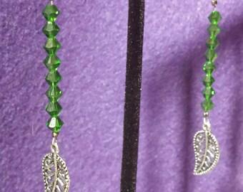 Green Swarovski Crystal and Leaf Earrings, Handmade