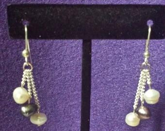 White And Purple Freshwater Pearl Drop Earrings, Handmade