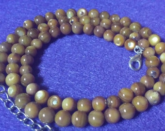 Amber Shell Bead Necklace, Handmade
