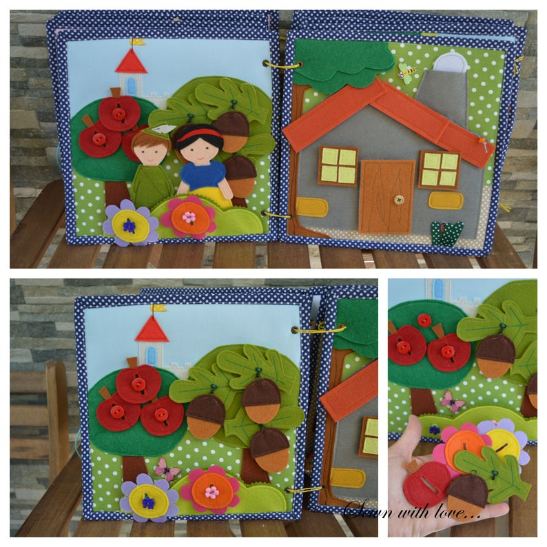 Quiet book, Busy book, Felt book, Gift for kids, Snow White and the seven  dwarfs