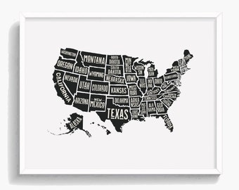 Us Map With States Black And White.United States Map Etsy