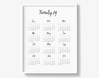 2019 calendar print 2019 wall calendar united states calendar uk calendar calendar for year 2019 digital download382