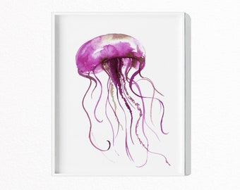 Jelly Fish Print, Nursery Jelly Fish Wall Decor, Prints For Nursery, Purple Jelly Fish, Ocean Decor,  Large Poster, Download, #155