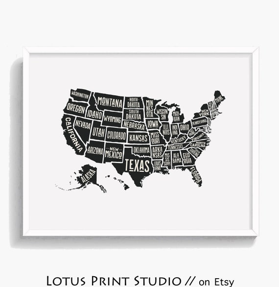 United States Map Print US Map USA Poster All States Named | Etsy