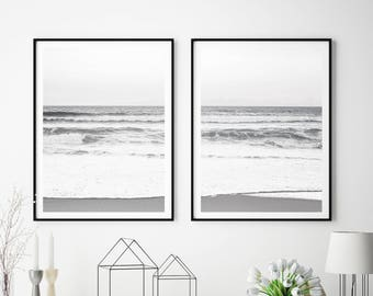 Set of 2 Ocean Wall Art Print, Beach Wall Art Print, Ocean Print, Ocean Wall Art, Black and White, Digital Download, Large Poster, #215