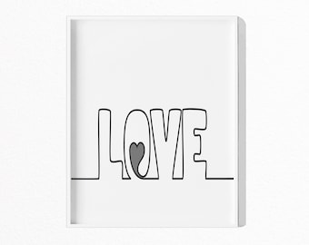 LOVE Print, Love Poster, Black and White Love Print, Modern Typography, Minimalist, Scandinavian Wall Art, Digital Download,  #044