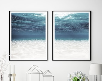 Set Of 2 Prints, Ocean Wall Art Prints,  Under Water Ocean Wall Art,  Under Water Photography, Digital Download, Large Poster, #181