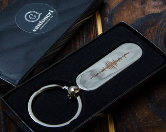 Custom Engraved Leather Keychain Custom Soundwave Keychain Voice Message Sound Wave Gift 3rd Anniversary Gift for Him