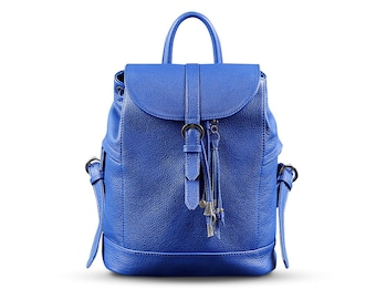 Handmade BackPack [Blue] | Genuine Leather Bag | Leather Backpack | Gift for her