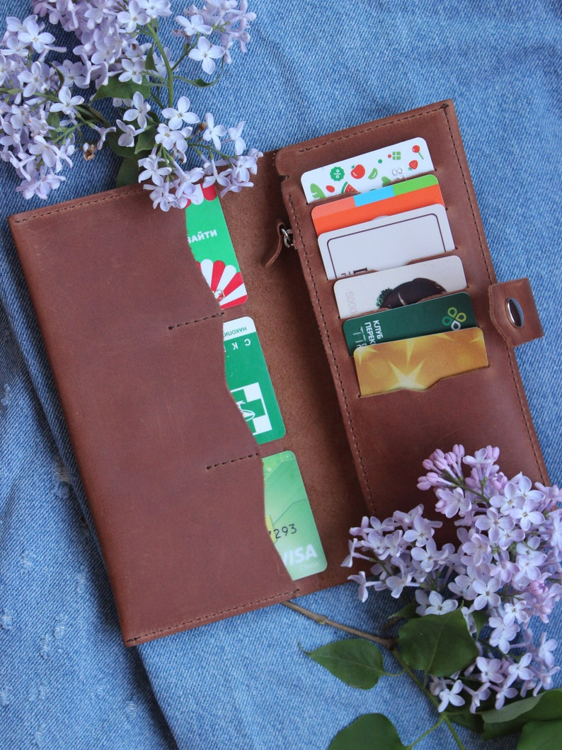 1537416790bc Personalized long leather womens wallet - Light Brown | Women leather  wallet | Custom women bifold wallet | Woman wallet
