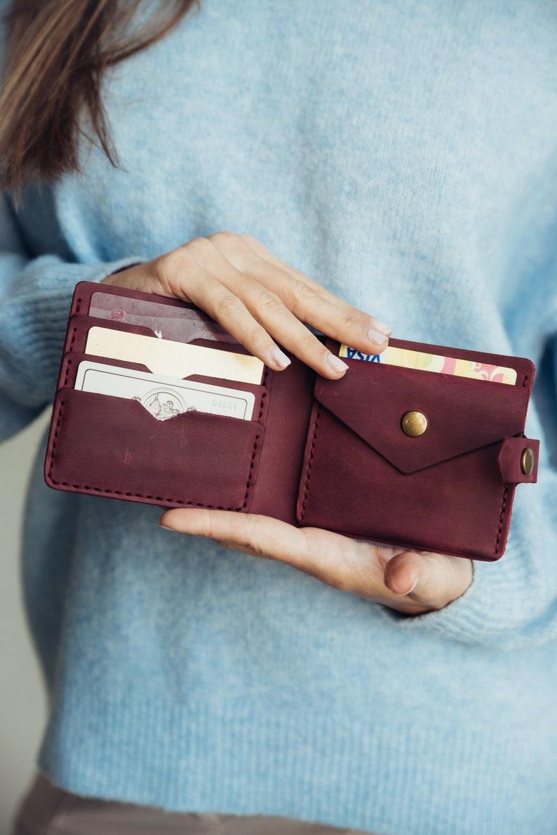 2b8529c8dfe6 Leather women's mini wallet (Marsala) 6 Compartments | Woman leather wallet  | Small Womens Wallet | Bifold woman wallet