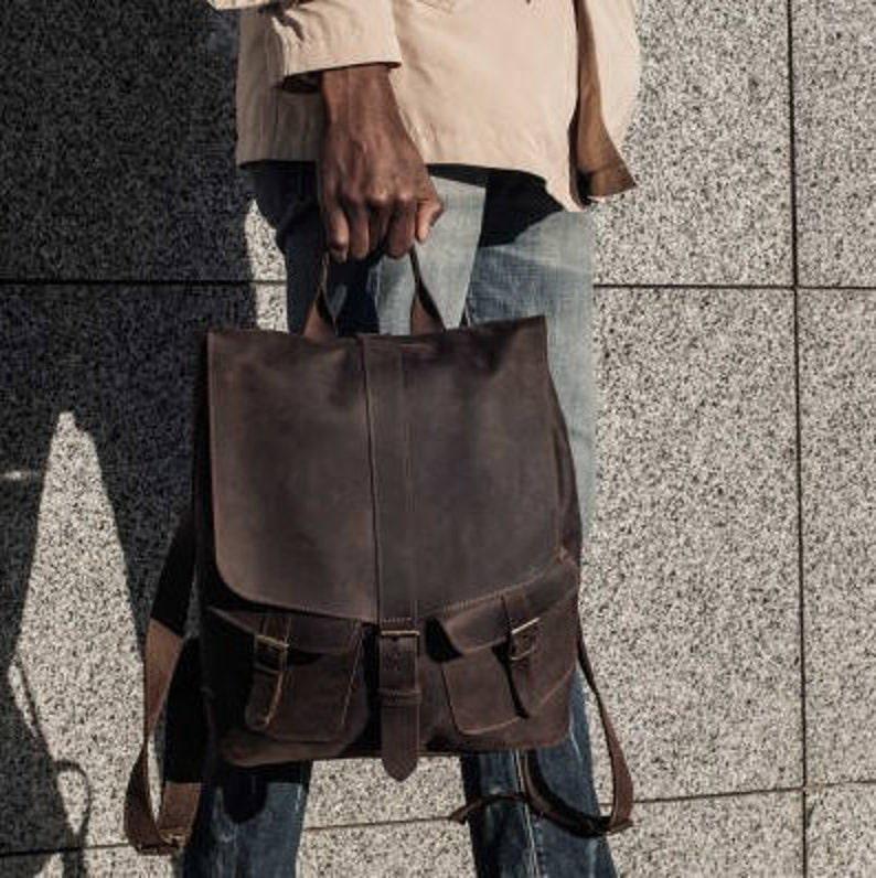 Full Grain Leather Backpack Mens Leather Rucksack Laptop Backpack Woman Backpack Handmade Black Leather Backpack