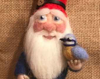 Needle Felted Gnome OOAK, handmade unique wool sculpture