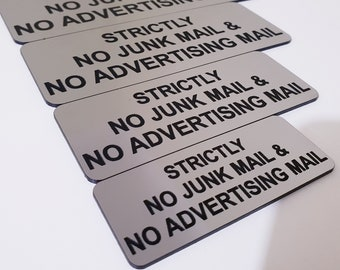 NO JUNK MAIL LASER ENGRAVED LETTERBOX SIGN 150MM X 50MM