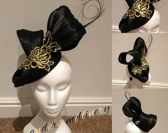 Gold,black silk abcca fascinator for wedding races handmade by me at Mander millinery all items are bespoke and can be made in any color