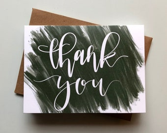 "Hand-Lettered Handmade Brush Painted Sage Green ""Thank-You"" Card 