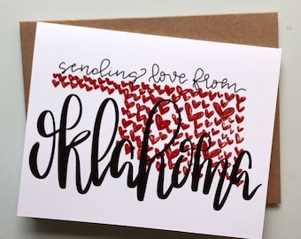 "Hand-Lettered Handmade ""Sending Love from Oklahoma"" Valentine's Day/Sympathy/Just Because Heart State Card 